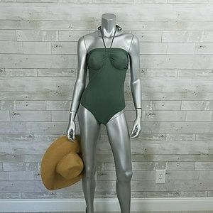 Lenny Luxe Green ruched halter one-piece swimsuit